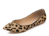 自有工厂可承接订单一件代发豹纹性感真皮马毛尖头平底女单鞋