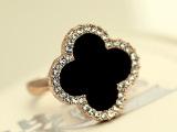 韩国饰品 镶钻亚克力四叶草戒指 韩版梵克时尚开口装饰指环 饰品