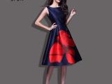 2015春夏新款欧美大牌印花中长款连衣裙时尚大码高端长裙女装