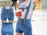 2015夏季女装学生欧洲站复古高腰双排扣牛仔背带短裤可拆卸两穿热