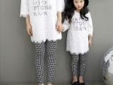 韩国童装 亲子装母女装女童2015春款 百搭小格子打底裤K139