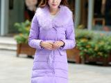 实拍2014冬季新款大毛领正品牌羽绒服女中长款修身加厚女装