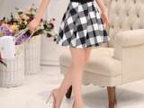 实拍2015新款气质印花格子半身裙春夏 韩版修身短裙百褶女装潮