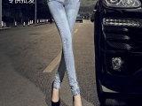 夏季新品女装牛仔铅笔裤 韩国品牌女式小脚牛仔裤淘宝货源批发