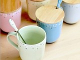 厂家直销zakka杯子 碎花木盖陶瓷杯 牛奶杯 带盖带勺杯创意1