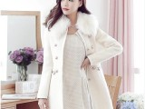 韩国东大门代购 韩版女装新款修身仿羊绒羊毛呢子大衣 外套
