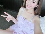 韩国可爱小睡衣套装 夏日清凉粉色松紧吊带高档女装一件代发
