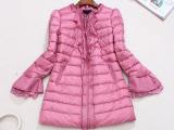 14秋冬新品 时尚纯色木耳边蕾丝袖口A字型中长款大羽绒服女款