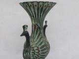 青铜器仿古工艺品孔雀凤凰瓶摆件 铜花瓶博
