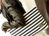 新款包包批发明星同款女包手提条纹帆布黑白条包单肩休闲女包