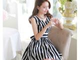 2014新款夏装女装韩版亚麻条纹背心裙 女大码显瘦短袖棉麻连衣裙