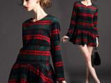 欧美外贸女装 2014荷叶边格子打底连衣裙 诚招大码服装代理加盟