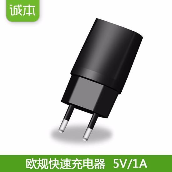 诚本5V1A欧规手机充电器 CE认证墙充 电动吸奶器充电头