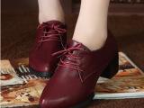 小皮鞋女英伦学院风韩版潮尖头粗跟系带女鞋子 复古中跟单鞋