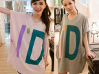 韩版潮款2014春装新款时尚字母D大码T 胖人打底衣服宽松T恤女短袖