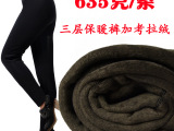【厂家批发】正品保暖裤靴裤拷拉绒三层加厚打底裤女冬加大码显瘦