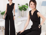 2014春夏季韩版新款女装休闲修身显瘦阔腿黑色连体衣连体裤