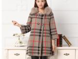2014秋冬新款女式貂绒大衣 中长款毛毛领女士貂绒风衣羊绒大衣