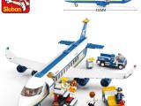 正品小鲁班益智儿童拼装玩具积木塑料拼插飞机大型空中巴士0366