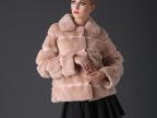 2014冬创意新款时尚百搭翻领短款獭兔毛皮草外套女 皮草上衣批发