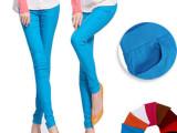 厂家直销糖果色显瘦铅笔裤弹力彩色糖果色打底裤前后口袋九分裤