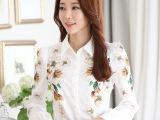 2015春装新款韩版女装春秋打底衫雪纺衬衣大码白色印花长袖女衬衫