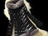 2014秋冬海宁新款真皮羽绒服女中长款连帽银狐狸毛真皮皮衣羊皮