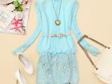 2014春装新款雪纺雷丝衫打底裙 欧州站潮版潮订钻立领女装小衫