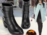 毅雅2014秋冬女靴欧洲站 短筒粗跟马丁靴女短靴加绒女靴子 加绒