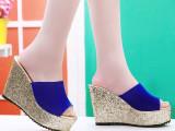 2014夏季韩版新款闪粉鱼嘴坡跟凉拖鞋高端奢华夜店性感超高跟女鞋
