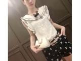 欧洲站2014女装新款荷叶边设计蕾丝拼接上衣+百搭短裤套装