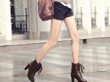 批发马丁靴UK-7短筒粗跟高跟女式马丁靴 系带带扣粗跟短靴马丁靴