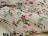 韩国绒压风琴百褶 米色底玫瑰碎花 面料布料 拉伸量
