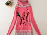 2一8岁针织衫女童公主范韩版明星款印花高领新品上市女童针织衫