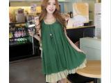 新款韩版时尚孕妇装 夏装新款宽松雪纺孕妇连衣裙孕妇背心裙批发