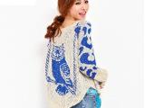 2014欧洲站新款毛衣女 猫头鹰 金线 韩版蝙蝠衫 宽松针织衫女