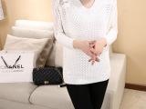 2015秋季新款后背镂空蕾丝V领女士针织衫韩版女装毛衣批发