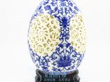 景德镇陶瓷花瓶 高档薄胎青花镂空摆件