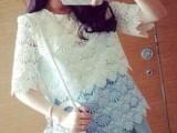 韩国代购2014春装新款五分袖层层蕾丝拼接打底衫女装一件代发