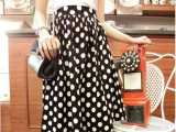 2014春夏新款 韩国复古波点长裙A字裙 百搭高腰百褶及膝半身裙