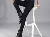 新款韩版高腰加绒加厚牛仔裤女冬加肥加大码