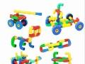 批发幼儿园桌面玩具益智拼插车轮管道积木 儿童拼装塑料积木玩具