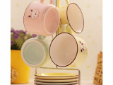 C02111 铁架套装咖啡杯碟 4杯4碟送铁架 陶瓷水杯 礼盒装