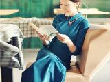 棉麻原创女装 中国风秋冬季旗袍唐装 民族风改良时尚长款旗袍