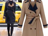 欧美2014春装新款长袖西装领双排扣长款系腰带外套女式风衣女