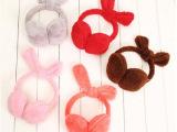 韩版冬季儿童蝴蝶结可塑毛绒兔耳朵耳罩保暖防风耳套捂耳包耳帽