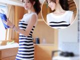 2014新款夏装 时尚修身显瘦蓝白条纹OL背心裙包臀连衣裙