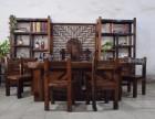 老船木家具 古船木整板茶桌 厚板龙骨茶台 会所家具