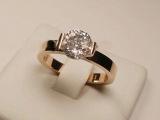 时尚镶钻钛钢戒指 韩国18K玫瑰金锆石水钻一克拉婚戒 女钻戒饰品