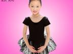2522#儿童莱卡棉长袖连体纱裙 芭蕾纱裙 体操服 演出服 练功服